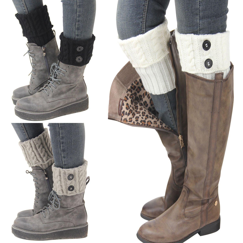 Bestjybt 3 Pairs Womens Short Boots Socks Crochet Knitted Boot Cuffs Leg Warmers Socks, Style 01