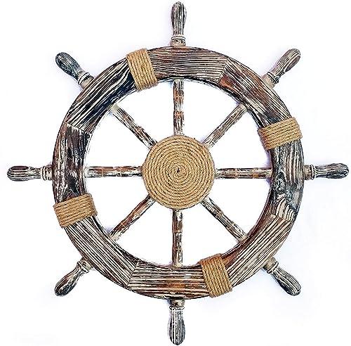 Nagina International 48″ Antique Black Nautical Decorative Premium Pine Wood Ship Wheel