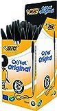 BIC Cristal - Pack de 50 bolígrafos de punta redonda, color negro