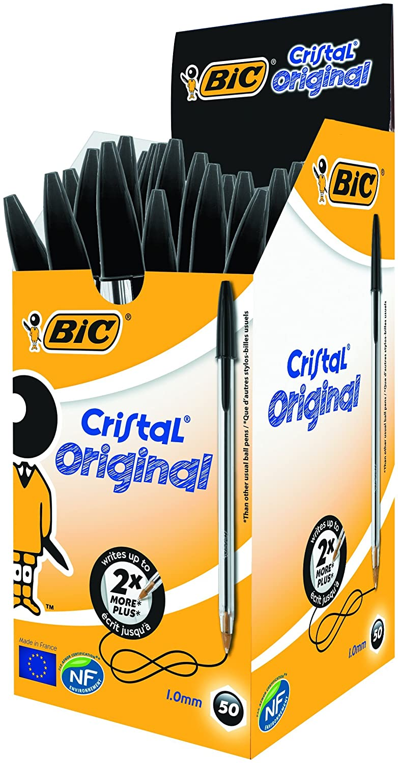 Pack of 50X BIC CRISTAL Medium Ball Pens Crystal Biros In Black