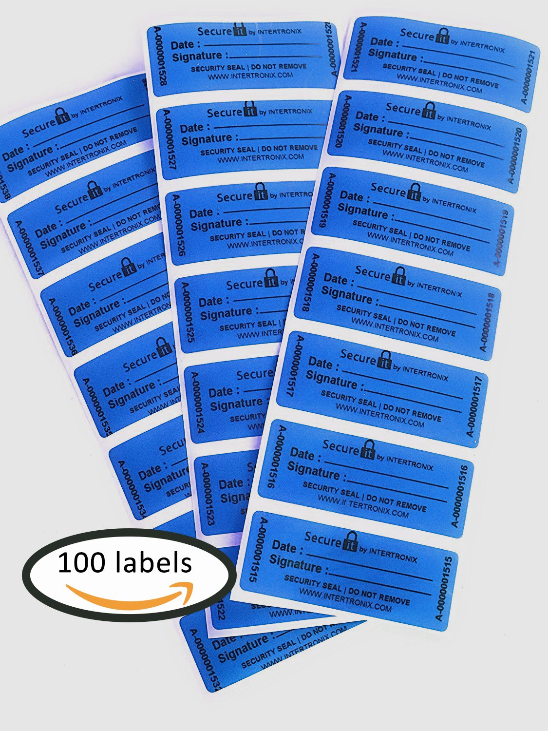 100 Secure.It Customs Stickers -Tamper Evident Stickers -Tamper Proof Stickers -Security Seal -Tamper Resistant Labels -Quality Control -Warranty Void Labels -Unique Sequential Serialization. Blue