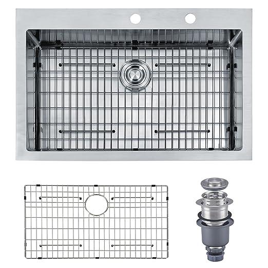 "Mowa HKN3322 Pro Series R10 Tight Radius Handmade 33"" 16 Gauge Stainless Steel Topmount Drop-in Single Bowl Modern Kitchen Sink"