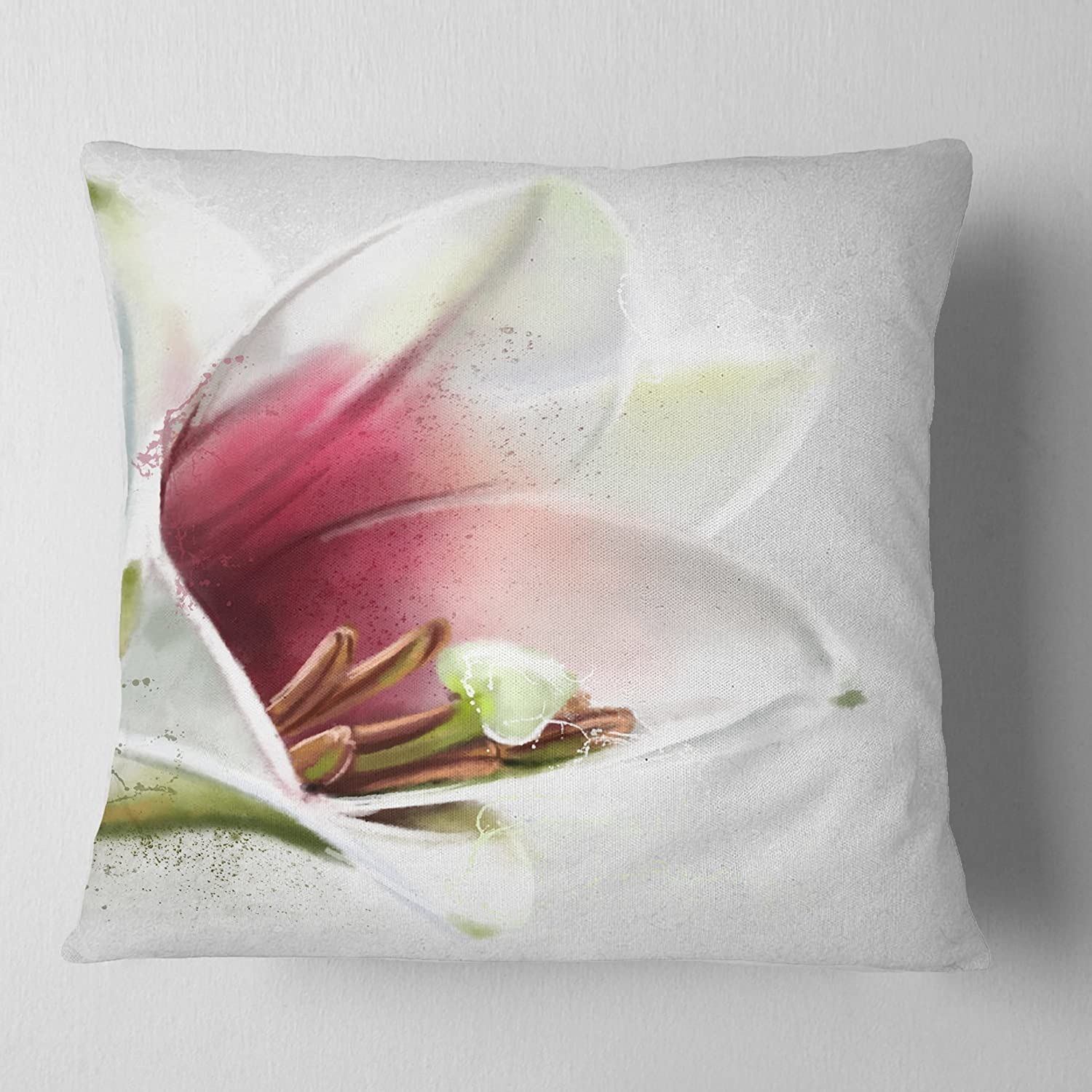 Sofa Throw Pillow x 16 in, Designart CU13785-16-16 Beautiful Lily Watercolor Flowers Pillowwork,Cushion Cover for Living Room