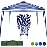 Stylish 3 x 3 Metre Waterproof Pop Up Gazebo Outdoor Garden Marquee Awning Party Tent Canopy With Carry Bag Pegs Steel Tubing (Blue White)