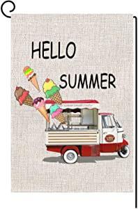 """Garden Flag Ice Cream Hello Summer Watercolor RedTruck Outdoor Decor Vertical Double Sided Burlap Outside Decorative Rustic Farmhouse Yard Small 12.5 x 18 Inch Large 28 x 40 (House Size-28 x 40"""")"""