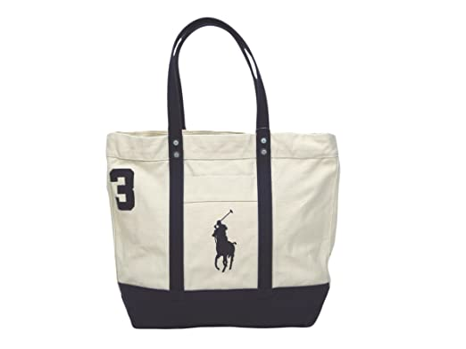 Ralph Lauren Unisex Big Pony Zip Canvas Tote Almond/Navy
