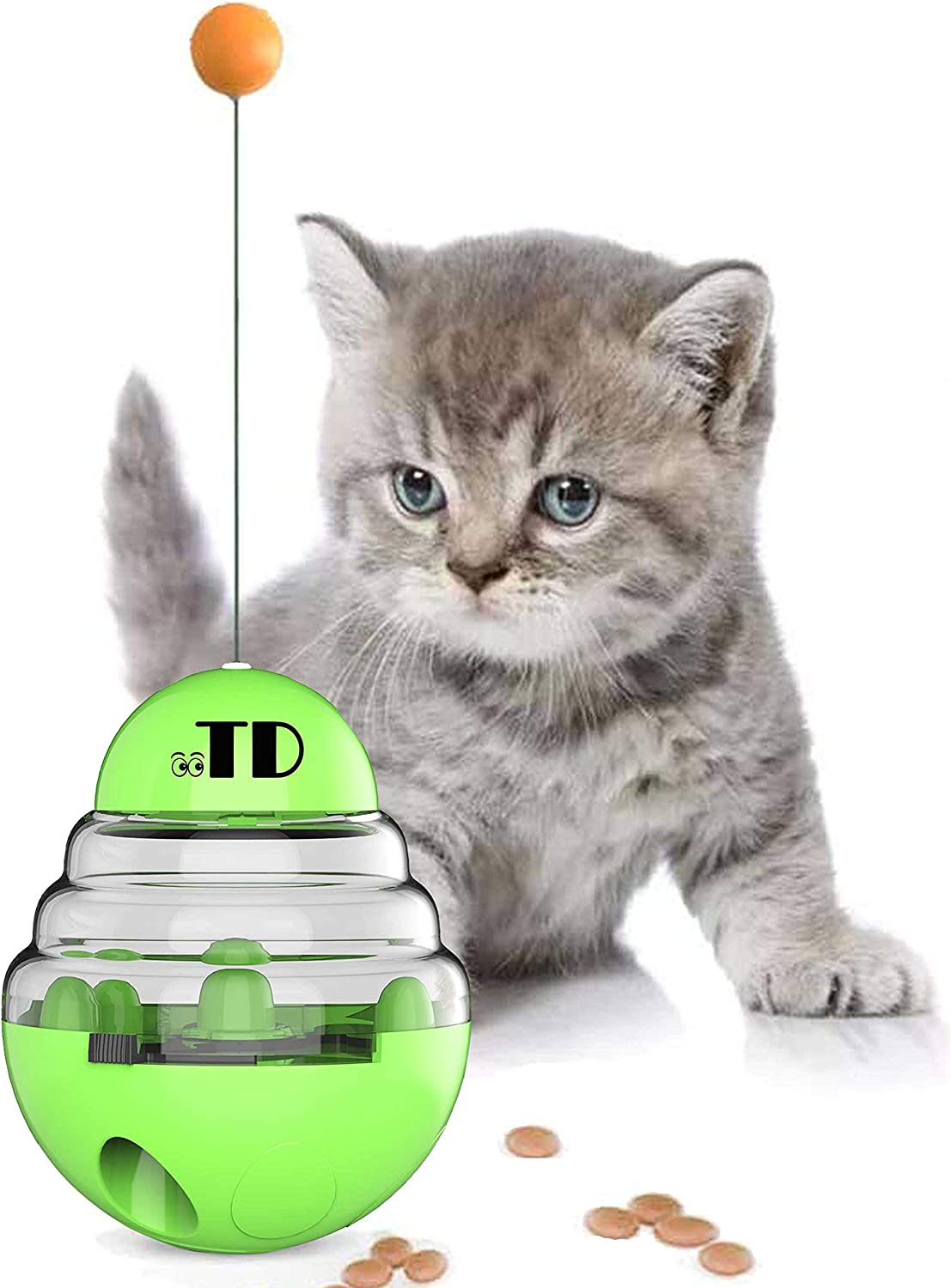 OOTD Cat Tumbler Toy Ball, Cat Slow Feeder Ball, Kitten Roly-Poly Treat Toys, Cat Toys Interactive Food Dispenser, Kitty Slow Food Dispensing Puzzle Toy, Slow Eating Interactive Cat Toy Ball, Green