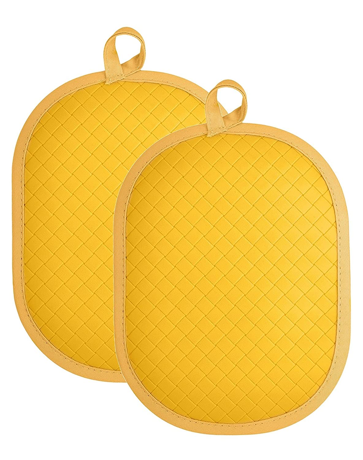 "Rachael Ray Cotton Pot Holder/Hot Pad & Trivet with Silicone Grip, Heat Resistant up to 500 Degrees, Material, 12x7.5"", Yellow 2pk"