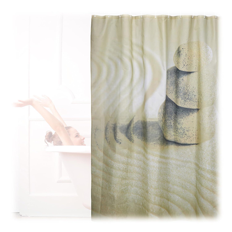 Relaxdays 10022612 Tenda da Doccia e per Vasca da Bagno, Disegno Pietre e Sabbia Zen, Anti-Muffa, HxL: 200x180cm, Beige Relaxdays GmbH