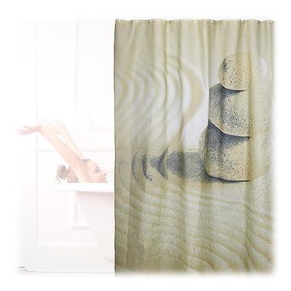 Relaxdays Cortina Baño Lavable con Estampado de Piedras, Poliéster, Beige 200 x 180 cm