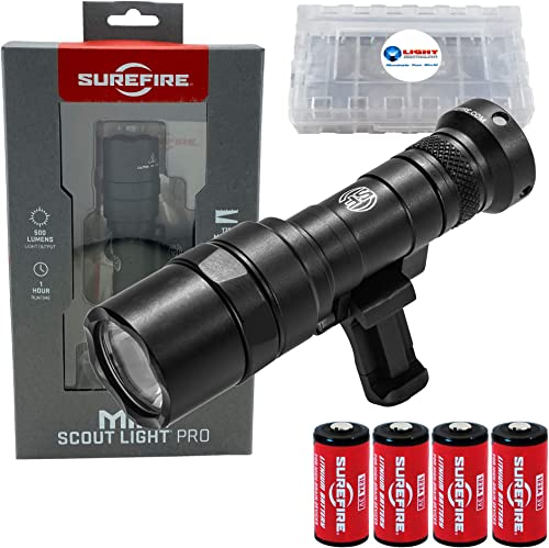 SureFire Mini Scoutlight Pro Tactical Light 500 Lumen Compact LED 340C Bundle with 4 Extra CR123A Batteries and a Lightjunction Battery Case