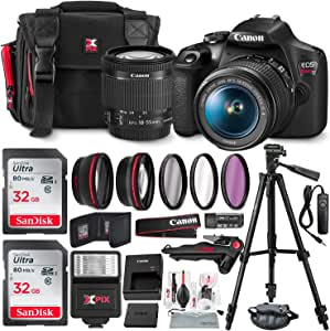 "Canon EOS Rebel T7 DSLR Camera + EF-S 18-55mm f 3.5-5.6 is II Lens + 58mm 2X Professional Telephoto & 58mm Wide Angle Lens + 64GB Memory Card + DC59 Case + 60"" Tripod + Slave Flash + UV Filters"