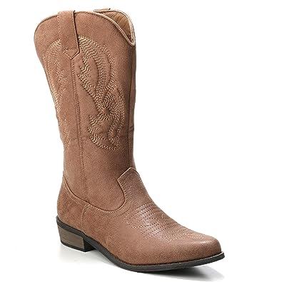 HERIXO Damen Schuhe Cowboy Stiefel Boots Halbschaft