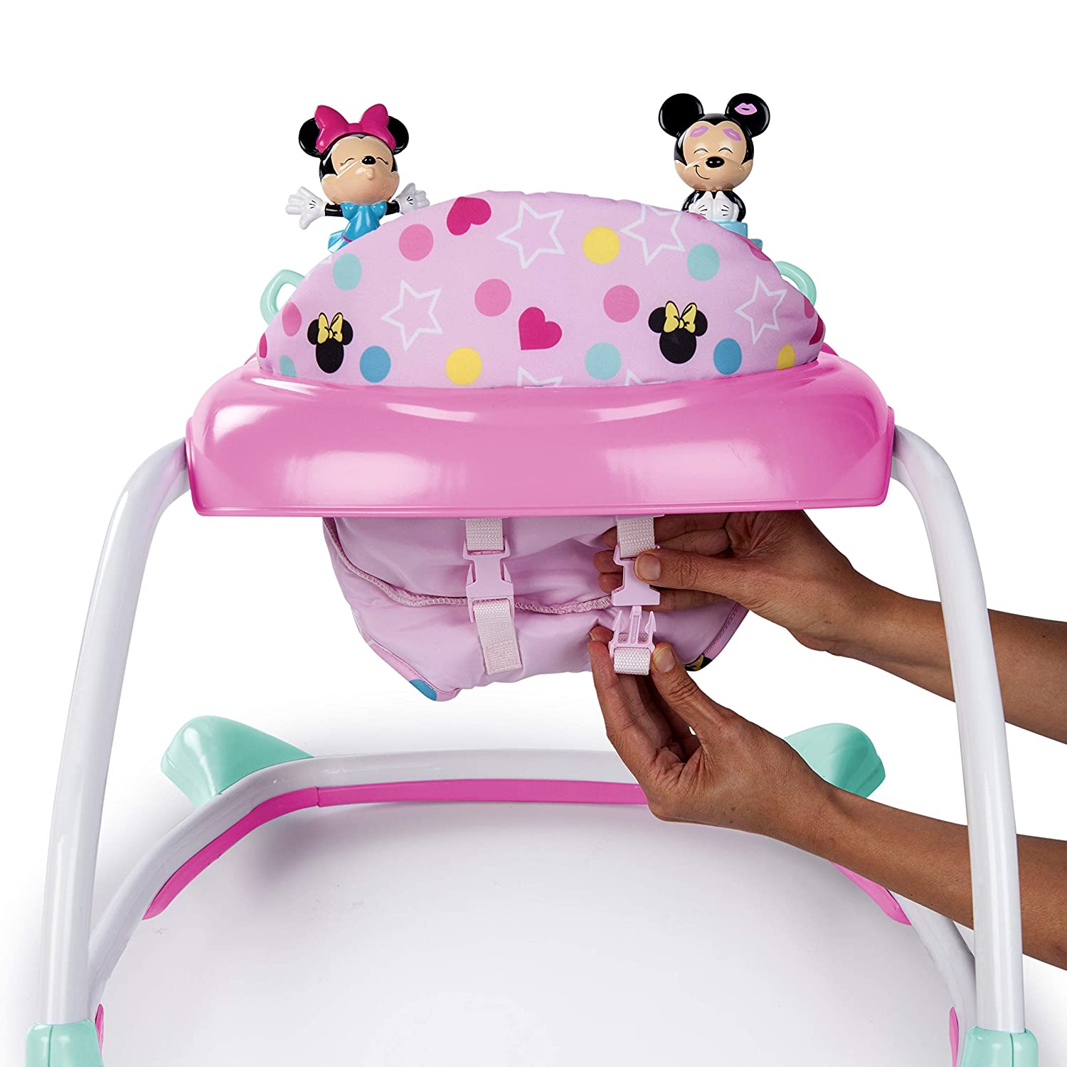 Minnie Mouse Stars and Smiles Baby Girl Folded Walker with Wheels Activity, Entertainment, and...
