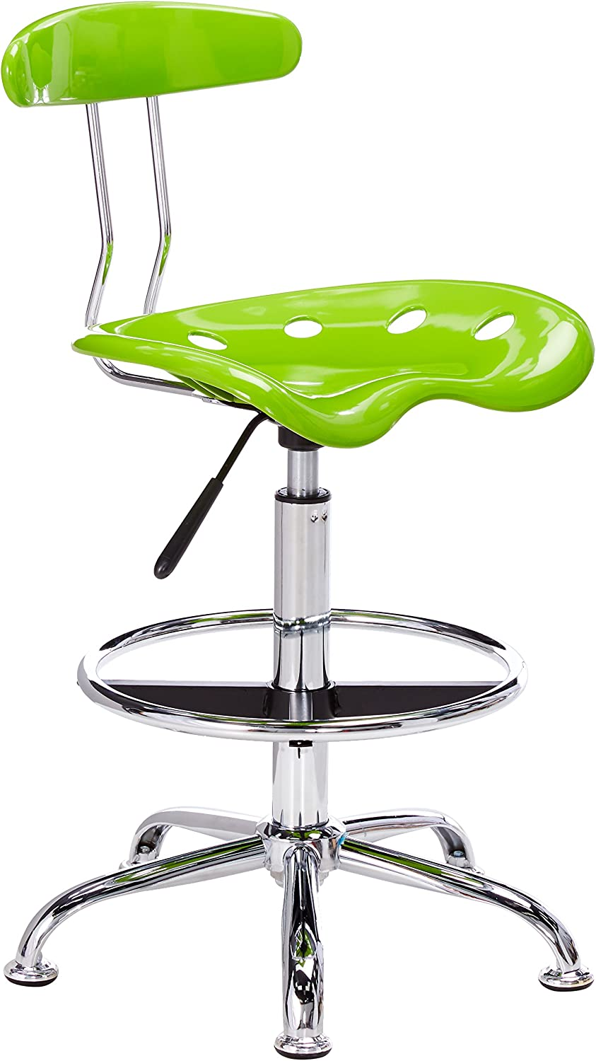 Flash Furniture Vibrant Apple Green and Chrome Drafting Stool with Tractor Seat