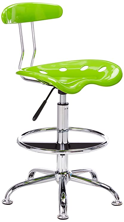 Merveilleux Flash Furniture Vibrant Apple Green And Chrome Drafting Stool With Tractor  Seat