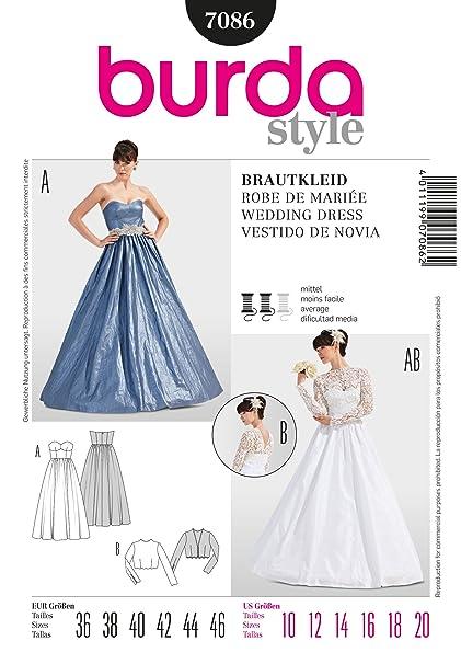 7086 Burda Wedding Dress Sewing Pattern Sizes 10-20