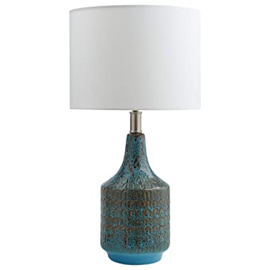 Rivet Modern Metal Table Lamp, 22 H, With Bulb, Blue with Linen Shade