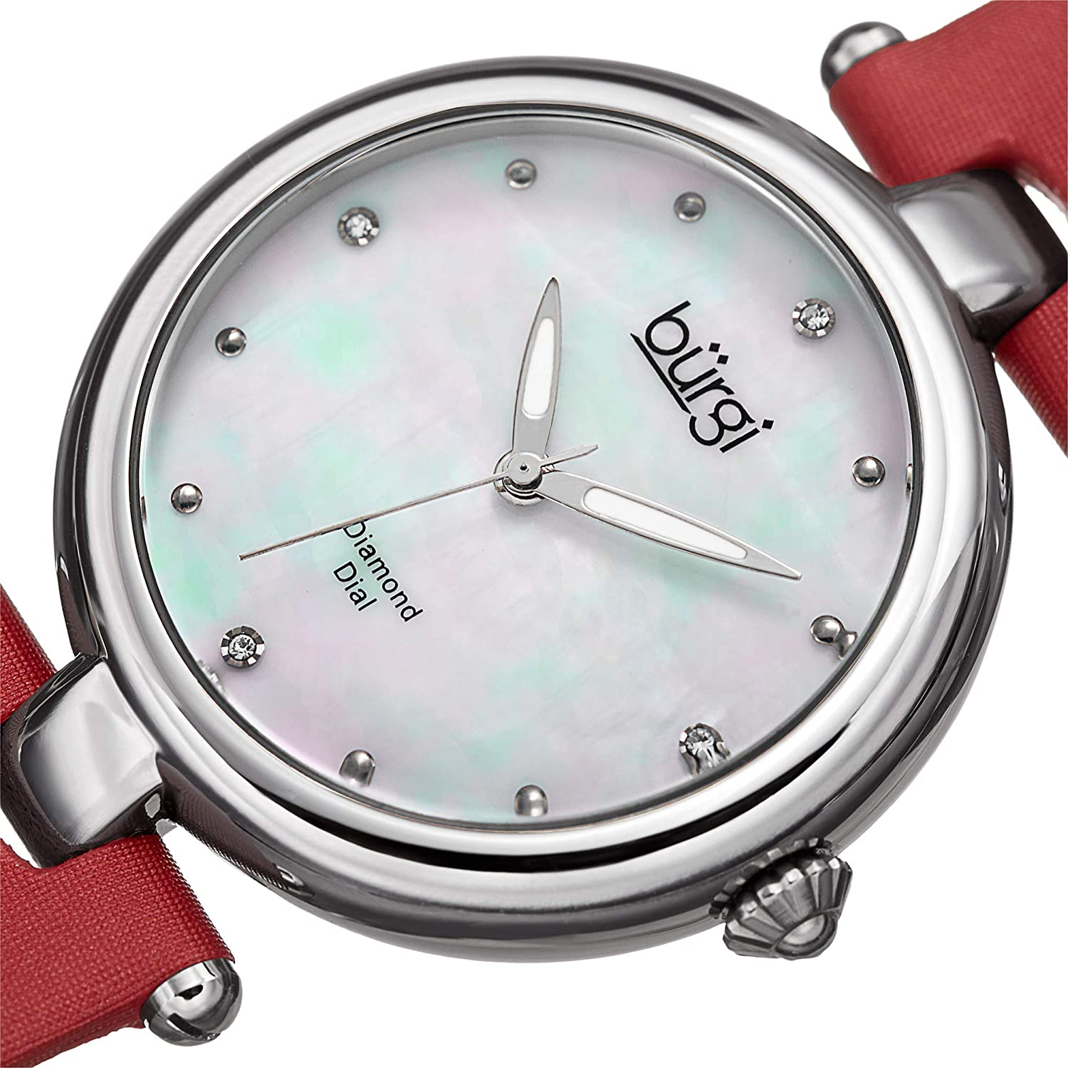 Burgi Designer BUR169 Women's Watch with Diamond Accented Markers on Mother of Pearl Dial – Skinny Genuine Leather Bracelet Strap - Red Band on Silver Case