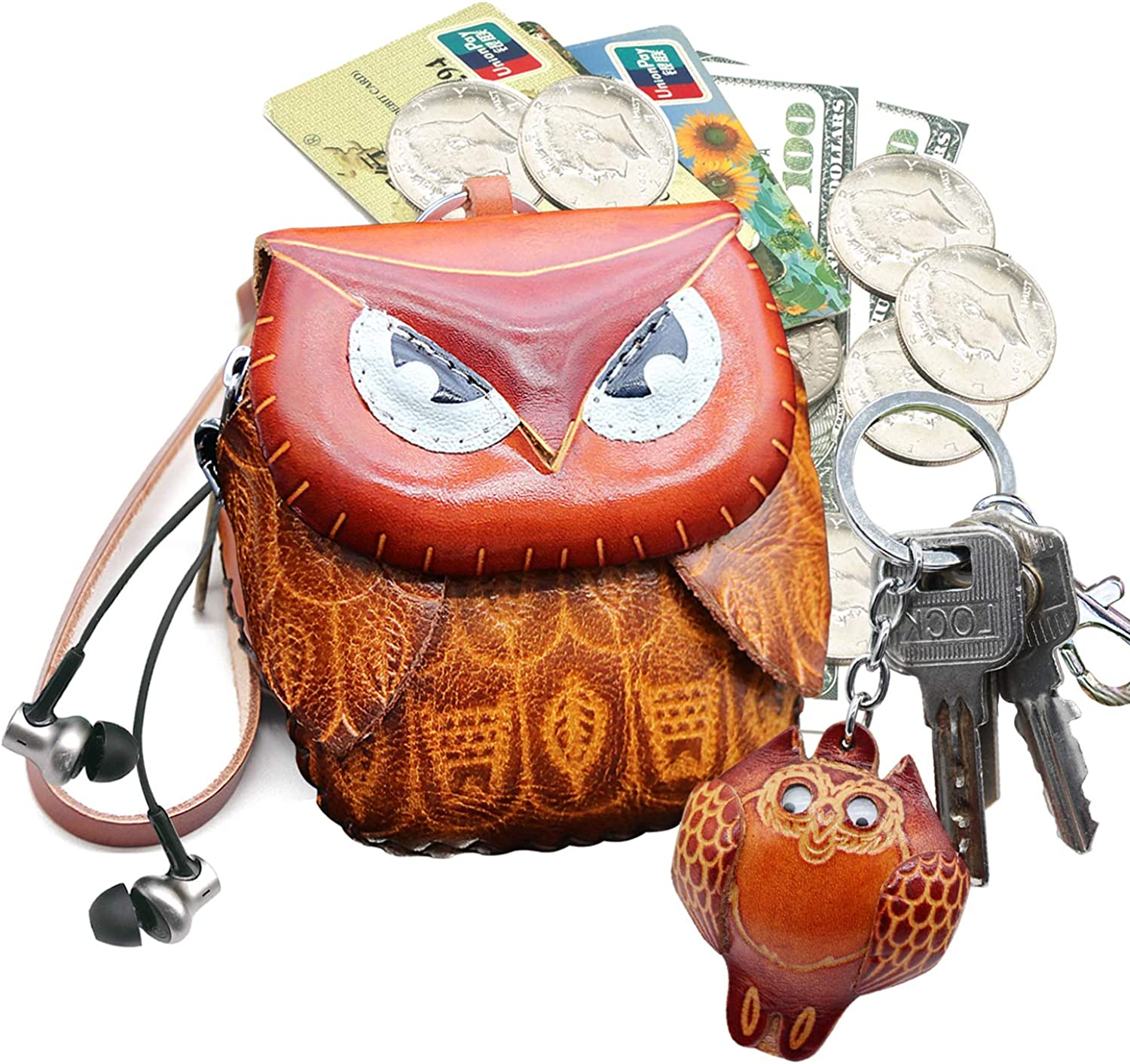 Leather/ Zippered Coin Purse Handcrafted/ Change Pouch Purse Wrist Clutch / with/ Keyring/ for Women