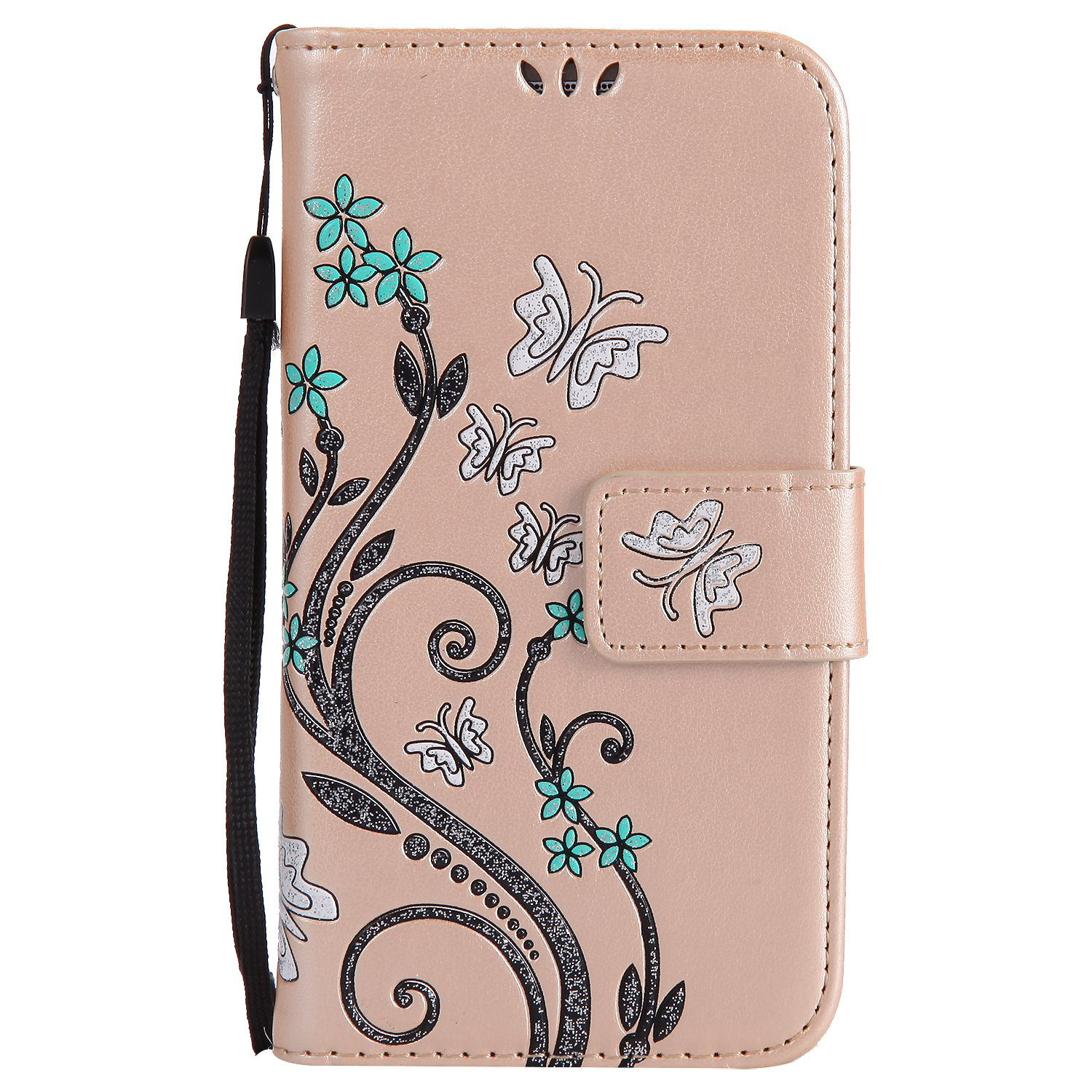 Lomogo [Flower Embossing] Galaxy A5 (2015) Leather Wallet Case with Kickstand Credit Card Holder Magnetic Closure Shockproof Flip Case Cover for Samsung Galaxy A5 (2015 Release) (Blue) HOHA22980