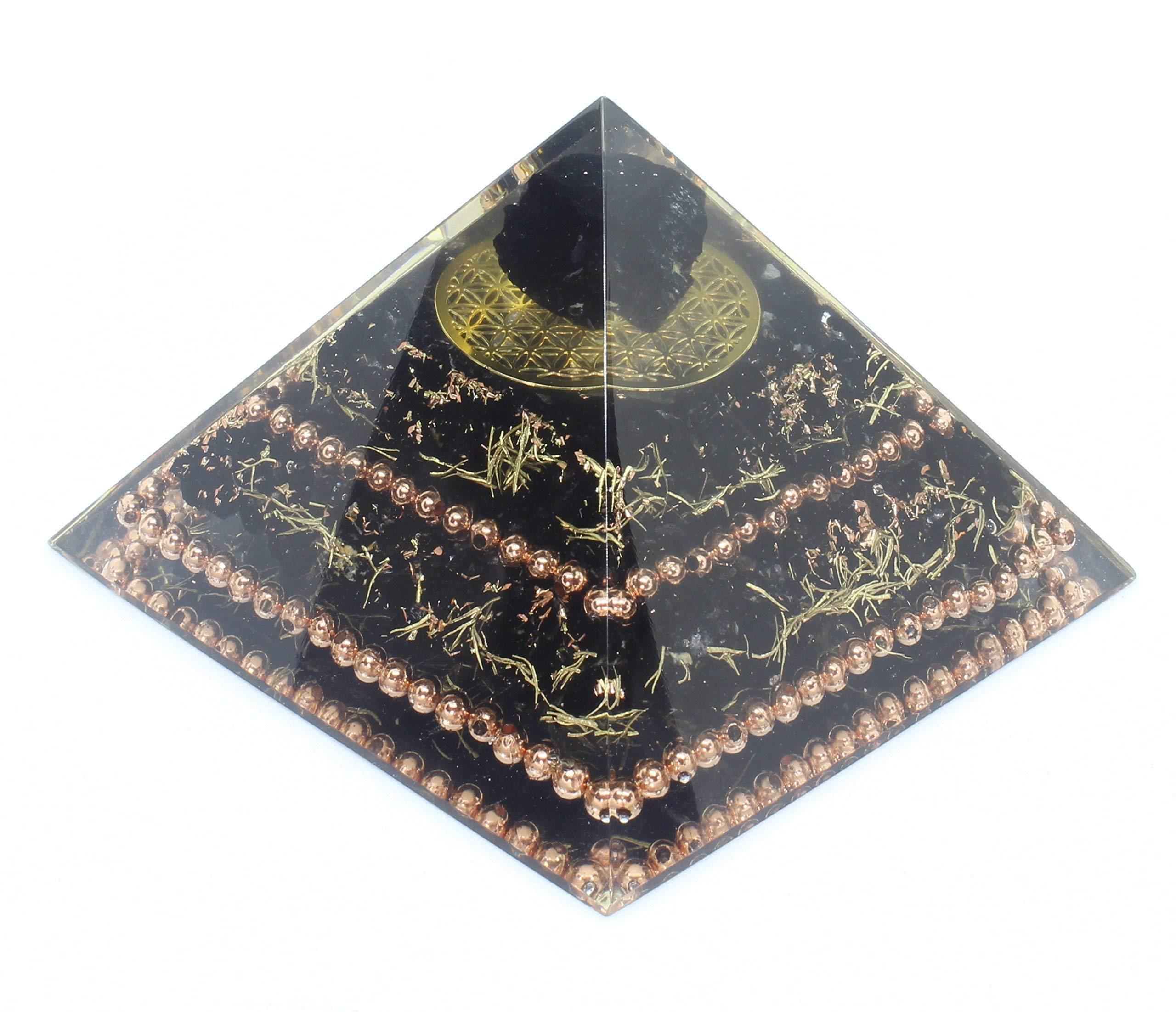 Flower of Life Black Tourmaline Copper Orgone Healing Pyramid for Balance Stress Inner Psychic Meditation