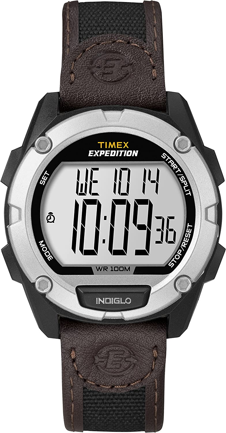 Timex Men s T49948 Expedition Digital CAT Black Brown Mixed Material Strap Watch
