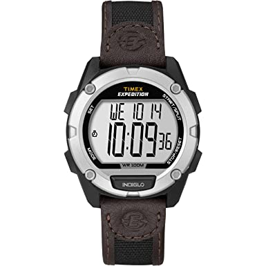 Men s Timex Expedition Brown Strap Black Case Outdoor Digital Watch T49948
