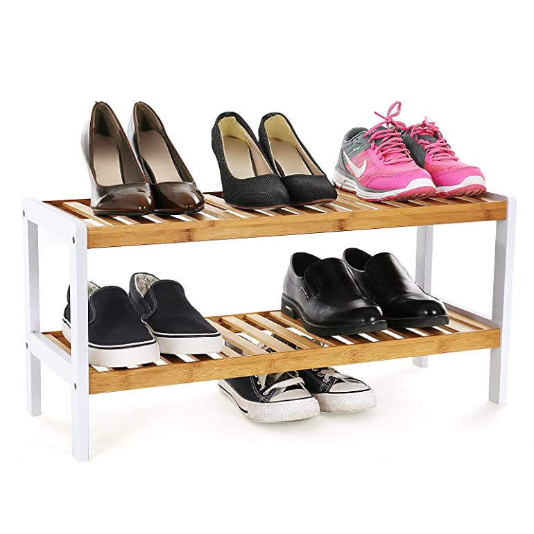 songmics shoe stand rack shelf organizer holder storage natural bamboo 2 tier for 6 pairs shoes lbs02h amazoncouk kitchen u0026 home