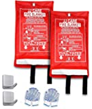 "JJ CARE Fire Blanket Fire Suppression Blanket, 40""x40"" +2 Hooks & 2 Gloves, Fire Blanket Kitchen, Fire Emergency Blanket, Fire Retardant Blankets, Fiberglass, Fire Safety Blanket for Fire Emergency"
