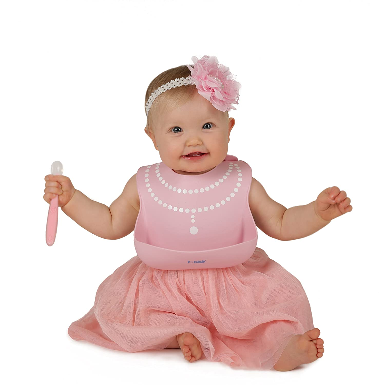 Waterproof Bibs for Toddlers - Silicone Baby Bib – Easy to Clean Feeding Bib - Soft, Comfortable, and Adjustable - Fits Up to 6 Years Old (Pink Pearl)