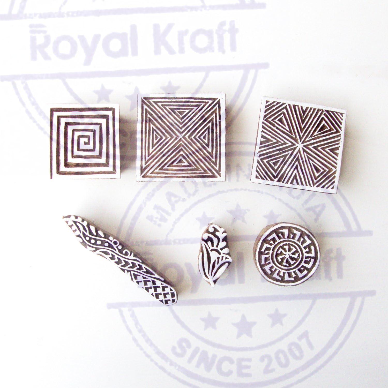 Set von 5 Royal Kraft Entwerfer Rand und Quadrat Muster H/ölzern Drucken Bl/öcke