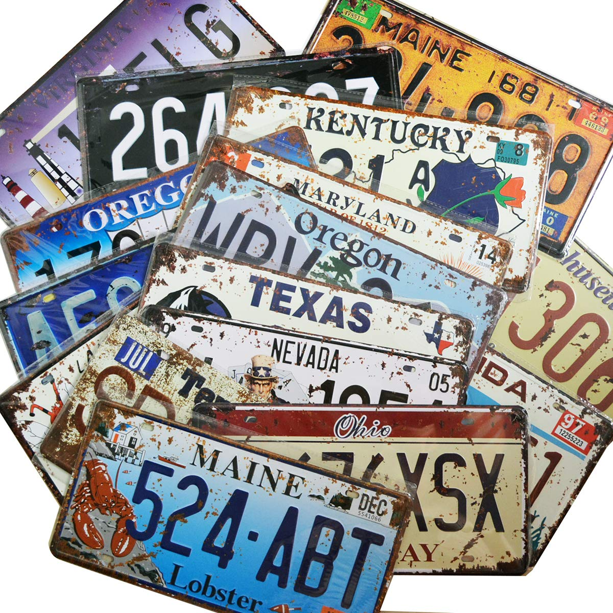 12 Pieces Assorted Retro Vintage State Number Tags, 3D Embossed Licenses, Home Wall Decoration
