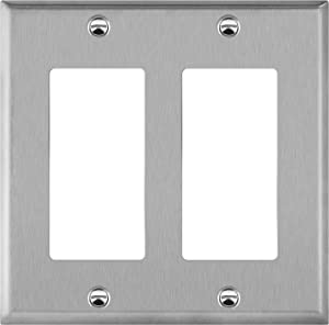 ENERLITES Decorator Switch or Receptacle Outlet Metal Wall Plate, Corrosion Resistant, Size 2-Gang 4.50