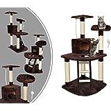 Leogreen - Albero Per Gatti, Tira Graffi Per Gatti, 120 cm, 4 piattaforme, Marrone, Materiale: MDF, Accessori: Corda + Topo