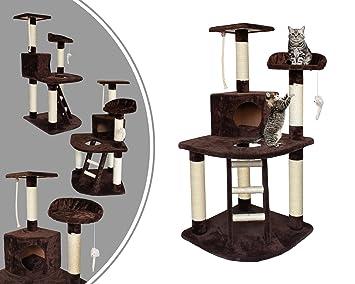 Leogreen - Árbol para Gatos, Poste Rascador para Gatos, 120 cm, 4 plataformas, Marrón, Material: MDF, Accesorios: Cuerda + ratón: Amazon.es: Juguetes y ...
