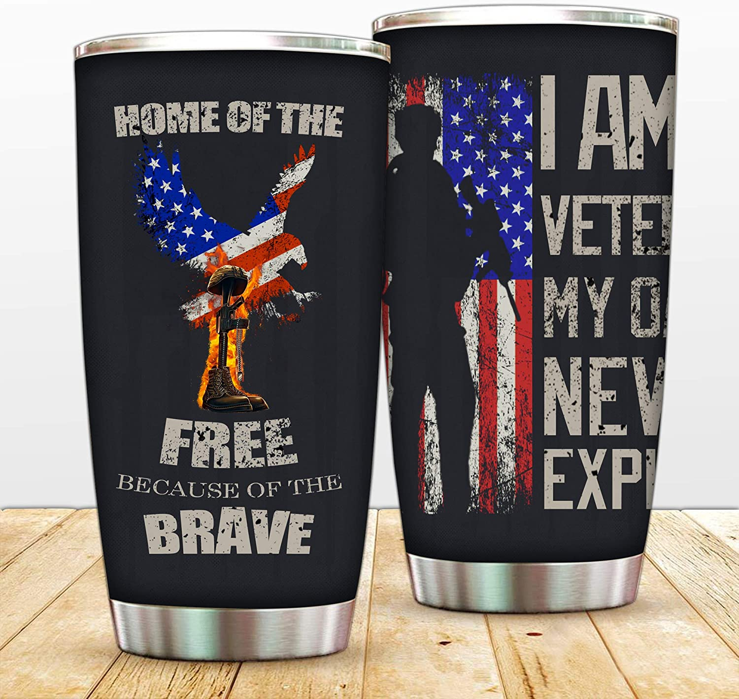 20 oz Military Veterans Tumbler Double Wall Vacuum Insulated Travel Cup Stainless Steel North American Bald Eagle Coffee Travel Mug With Lids Straws,American Flag Water Bottle