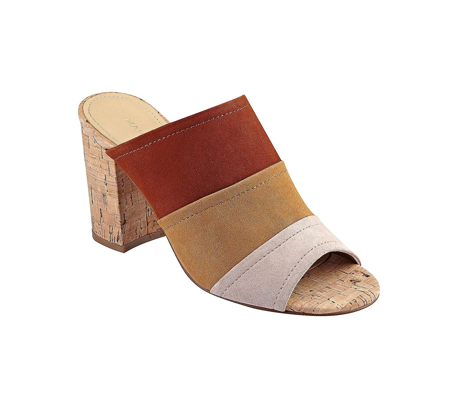 Marc Fisher Womens Prenna Leather Open Toe Casual Mule Sandals Size 9M Brown