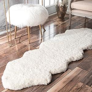 nuLOOM Double Pelt Faux Sheepskin Matix Shag Rug, 2' x 6', Natural