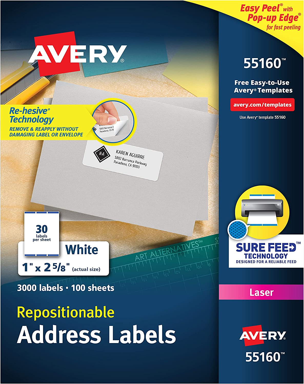 Avery Repositionable Address Labels for Inkjet Printers 1 x 2-5/8, Box of 3,000 (55160)