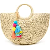 Womens Large Straw Beach Tote Bag Hobo Summer Handwoven Bags Purse wth Pom Poms