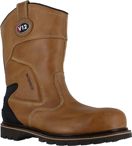 V12 Tomahawk Mens Tan Leather Steel Toe