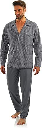 Sesto Senso Pijama Hombre Botones Algodon Abotonado Clasico Invierno 2 Piezas Set Ropa De Dormir Conjunto Set Camisa Manga Larga Pantalones Largos