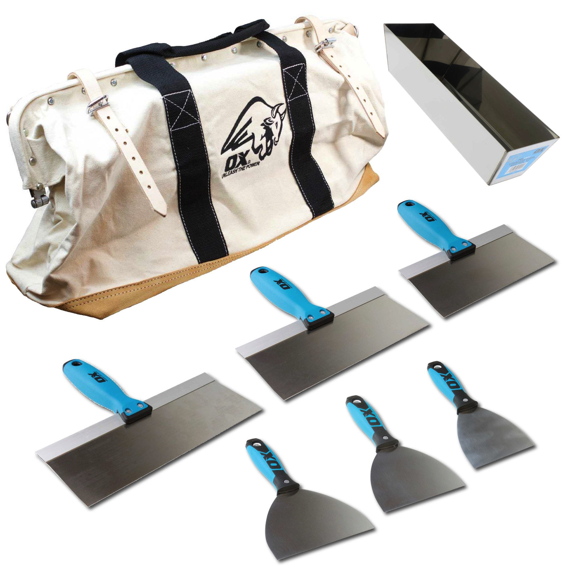 OX Pro 6-Piece Stainless Steel Drywall Taping Plastering Joint Knife Set PLUS 12'' Mud Pan and 24'' Heavy Duty Canvas and Leather Tool Bag