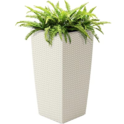 White Self-Watering Wicker Planter with Caster Wheels Water Level Indicator Mobile Planter Large Reservoir Durable Wicker Perfect for Decorating Living Room Balcony Patio Porch Indoor Outdoor Use : Garden & Outdoor