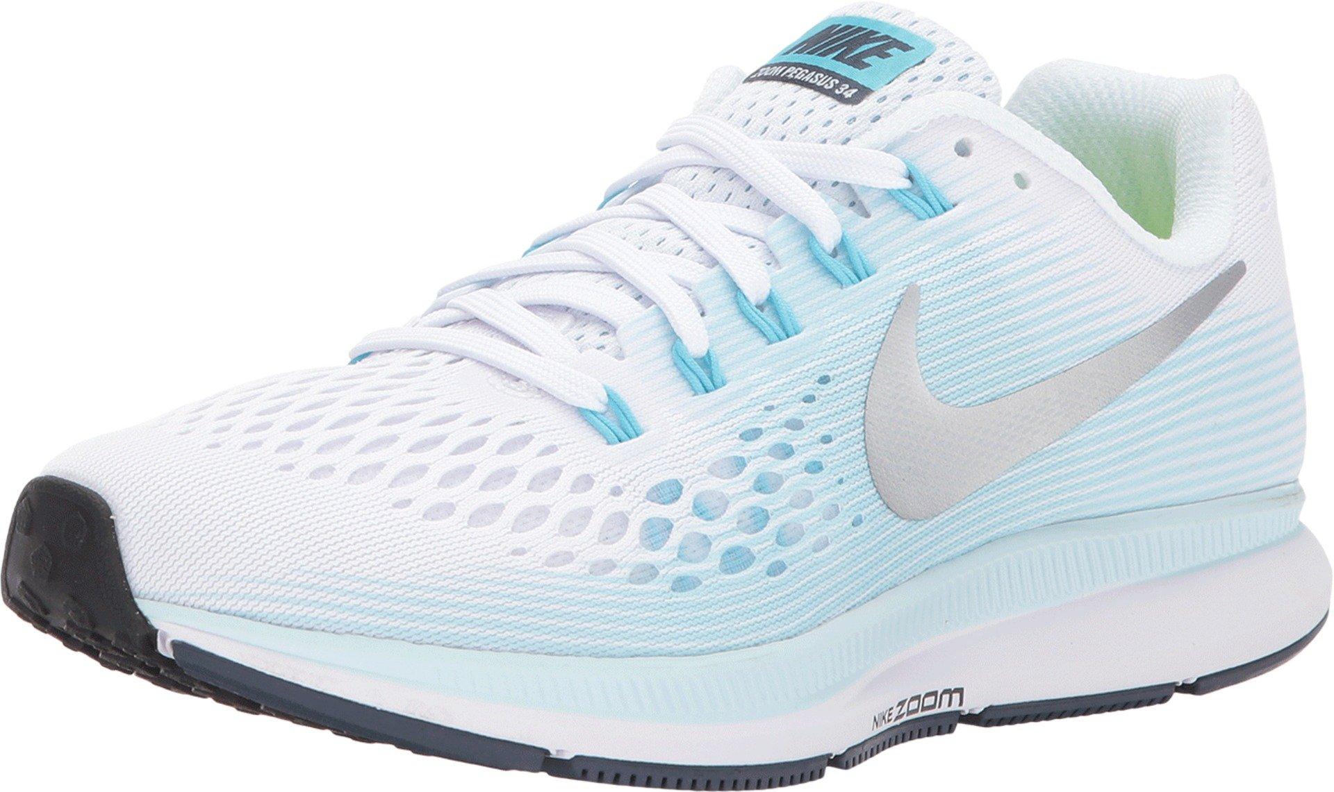 Nike Women's Air Zoom Pegasus 34 Running Shoes (9.5 B US, White/Metallic Silver)