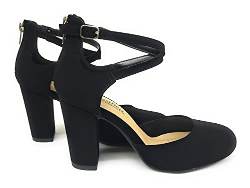 04e561bc3d82f City Classified Womens Anytime Closed Toe Ankle Strap Back Zipper Heel Pump  Sandals