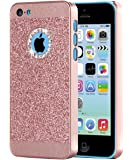 iPhone 5C Case,BENTOBEN Luxury Shiny Bling PC Case with Crystal Sparkly rhinestone Protective Cover for iPhone 5C Rose gold