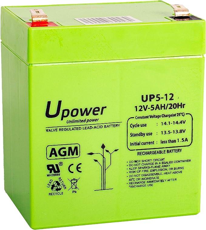 Bateria Plomo AGM 5Ah 12V: Amazon.es: Electrónica