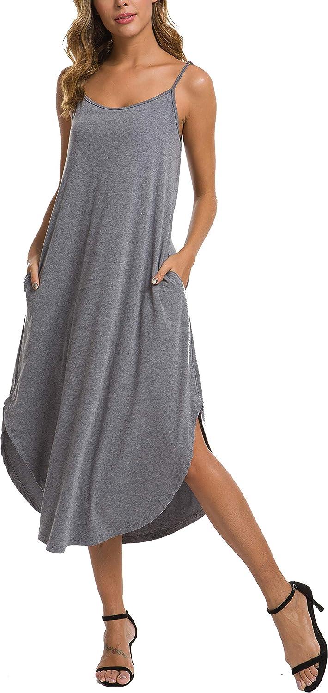 AVIIER Women Sleeveless Long Nightgown Summer Full Slip Night Dress Cotton Chemise